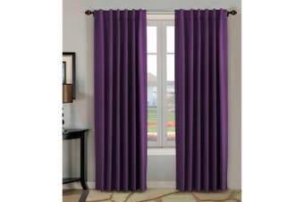 2 Panels Pair Curtains Blockout for Living Room/Girl's Bedroom, Rod Pocket/ Back Tab Top Blackout Window Curtain Drapes, Plum Purple