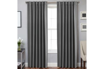 2 Panels Blackout Curtains for Bedroom Window Curtain Drapes Pair for Living Room, Rod Pocket / Back Tab Curtain Header, Grey