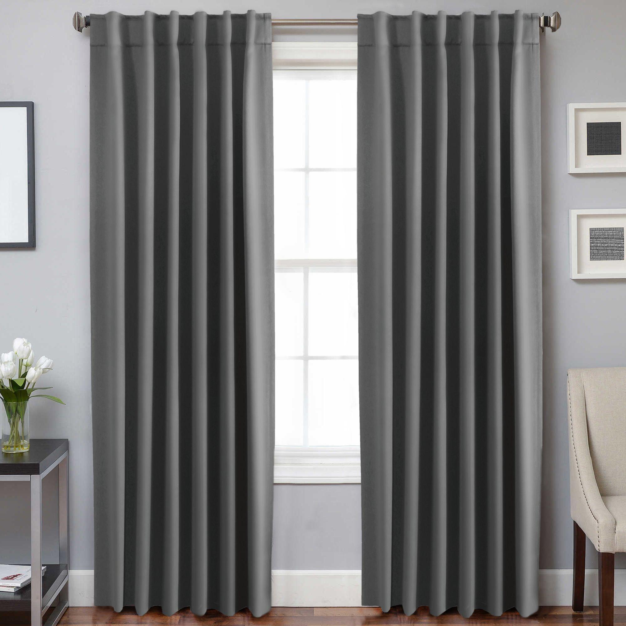 2 Panels Blackout Curtains For Bedroom Window Curtain Drapes Pair For Living Room Rod Pocket Back Tab Curtain Header Grey Matt Blatt