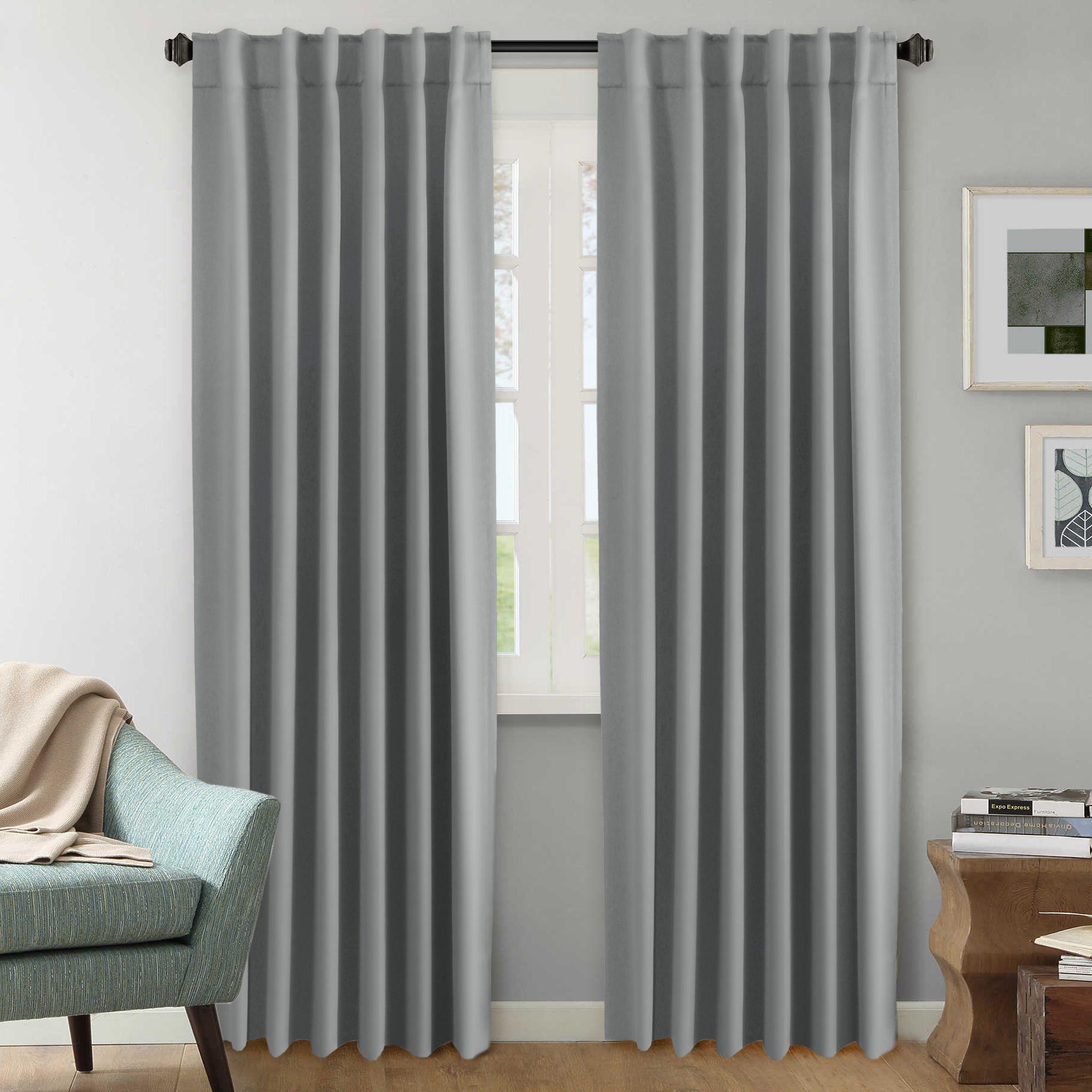 2 Panels Pair Curtains Blockout For Living Room Bedroom Rod Pocket Back Tab Top Blackout Window Curtain Drapes Dove Grey Matt Blatt
