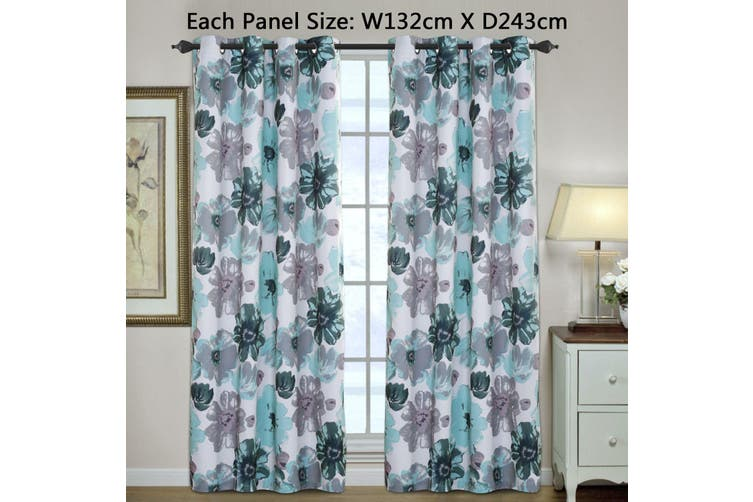 2x Blockout Blue Floral Curtains Pair Eyelet Blackout Curtain Draperies for Living, Multi Color and Size