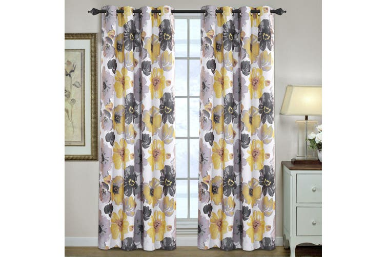 2x Blockout Yellow Floral Curtains Pair Eyelet Blackout Curtain Draperies for Living, Multi Color and Size