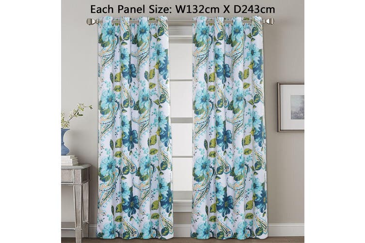 2x Blockout Blue Paisley Floral Curtains Pair Eyelet Blackout Curtain Draperies for Living, Multi Color and Size