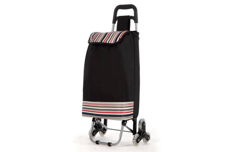 Portable Shopping Utility Cart Trolley with Wheels and Bag   Black