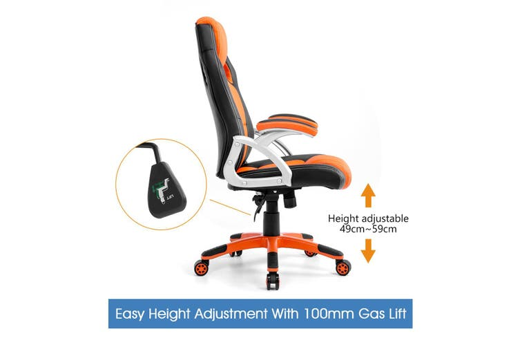 Gaming Office Chair with Adjustable Tilt   Black Orange