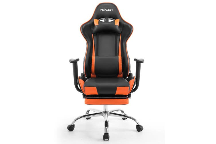 PU Leather Gaming Chair Adjustable Swivel Office Racing Seat   Orange and Black