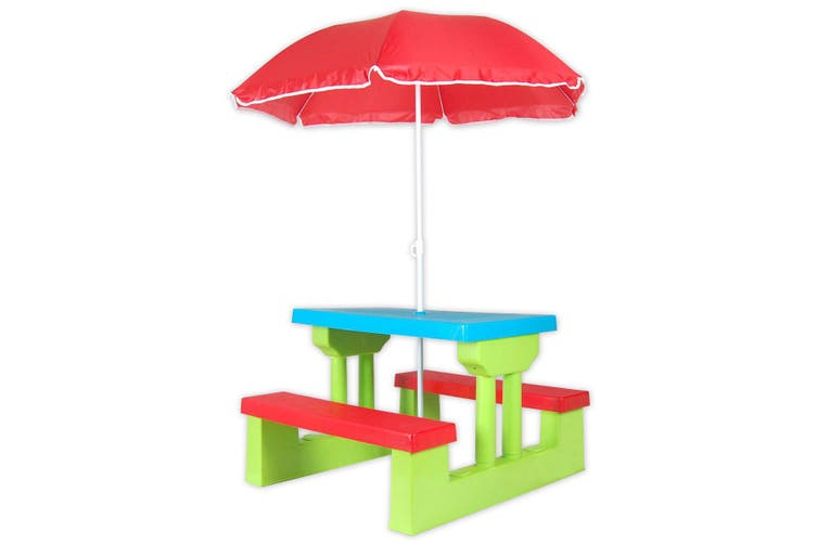Outdoor Garden Kids Children Picnic Table Set Play Toy with Umbrella