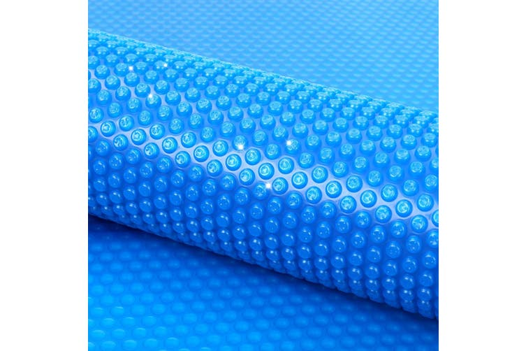 10.48M x 4.8M Swimming Pool Cover Reel Set Solar Blanket Roller Wheel Blue 400 Micron