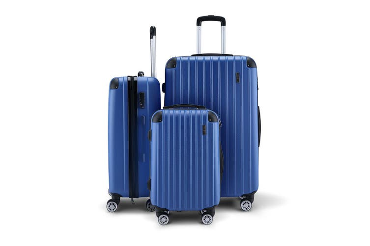 3PCS Blue Luggage Suitcase set 20 inch  24 inch  28 inch  With Lock