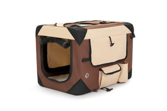 Medium Pet Dog Cat Soft Crate Folding Puppy Travel Cage   Brown