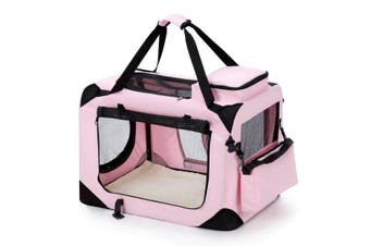Pet Dog Cat Soft Crate Folding Puppy Travel Cage XL   Pink