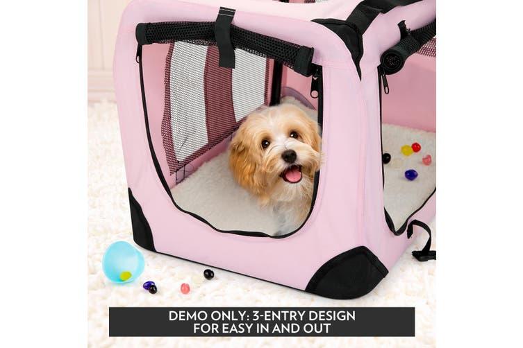 Pet Dog Cat Soft Crate Folding Puppy Travel Cage Medium Size   Pink