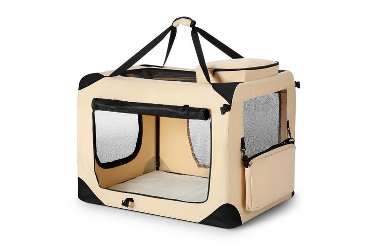 Extra Large Pet Dog Cat Soft Crate Folding Puppy Travel Cage   Beige