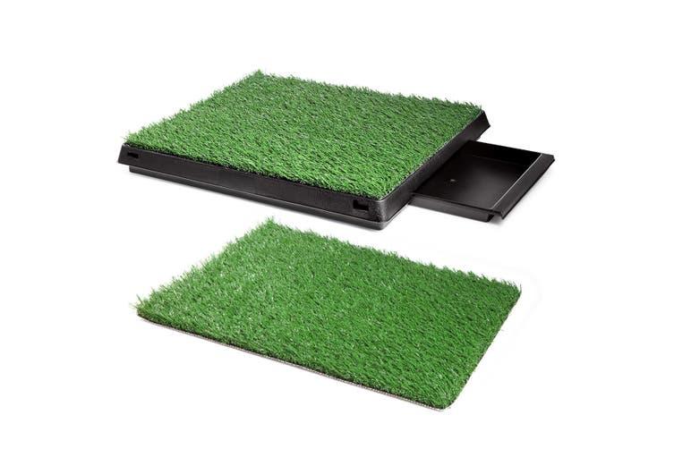Indoor Pet Pee Training Pad with 2 Artificial Grass Mat