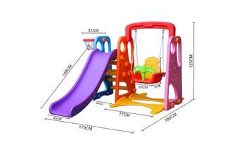 Kids Toddlers Swing Slide Play Set Basketball Hoop 3 in 1 Activity Center