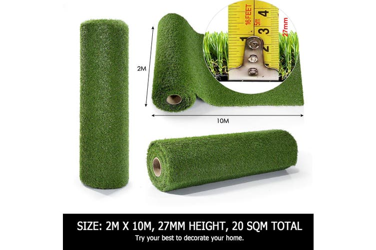 Artificial Carpet Fake Grass Synthetic Thick Lawn 2Mx10M  17mm