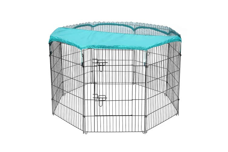 Pet Playpen with 8 Panels and Green Frabic Cover L size