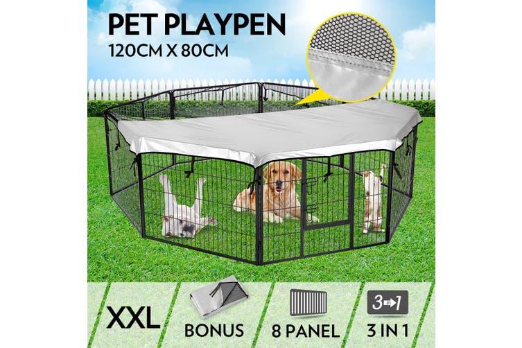 Folding 8 Pcs Pet Dog Play Pen Panel Cage 80cm