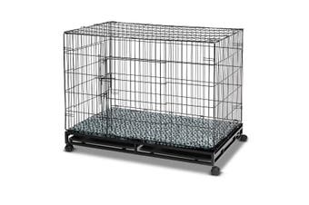 Folding Metal Pet Dog Crate Cage Home with Wheels   48 inch