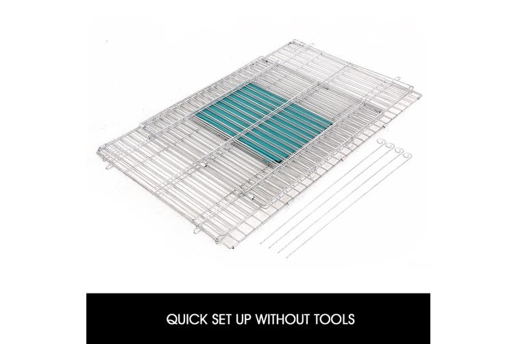 Pet Playpen,Indoor Portable Metal Wire Yard Fence with Blue Cover 2.2M