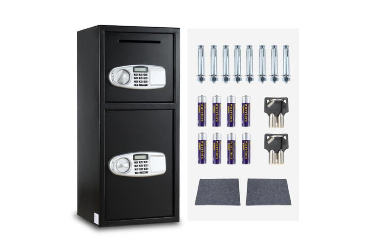 Electronic Deposit Box Safe with 2 Doors