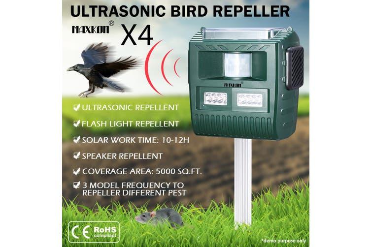 4 x Ultrasonic Solar Powered Bird Animal Repeller Pest Control Repellent