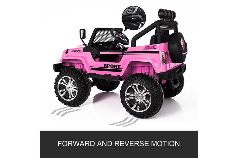 Kids Ride on Car Remote Control Electric Off Road Truck Jeep with Built in Songs   Pink