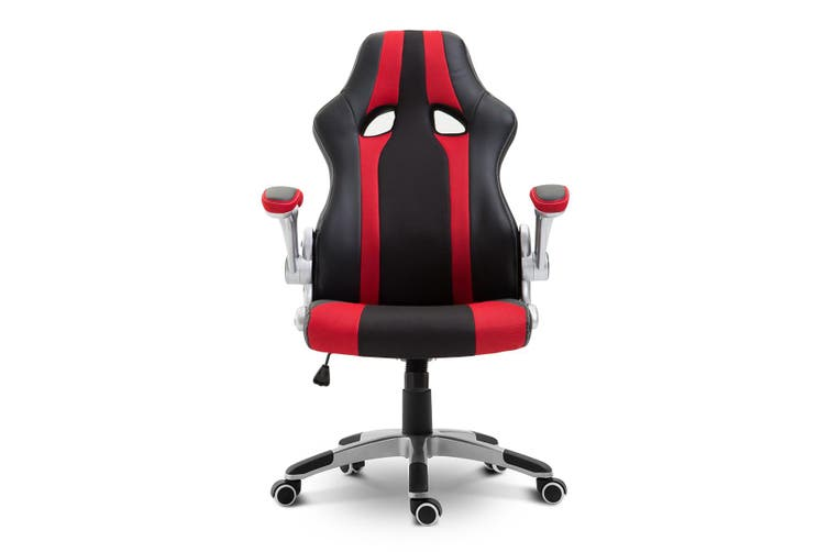 Racing Style Gaming Office Chair with Adjustable Armrest   Red and Black
