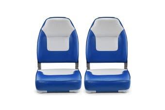 2 High Back Fishing Boat Seats Fold Down Seat   Blue