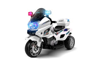 Kids Motorcycle Electric Ride on Toy Police Motorbike with 3 Wheels   White