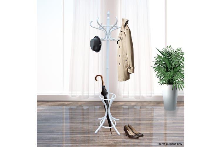 Stylish Coat Stand with 12 Hooks – White