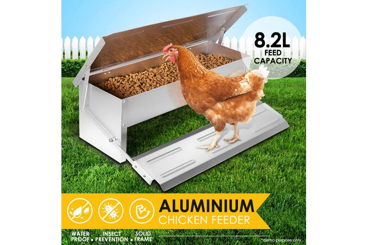 Auto Chicken Aluminium Feeder Poultry Chook Treadle Feeding  8.2L