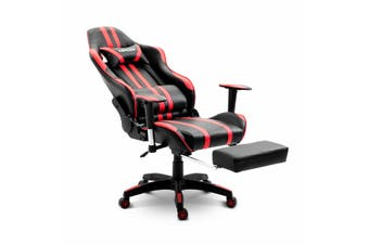 PU Leather Gaming Chair Adjustable Swivel Office Racing Seat   Red and Black