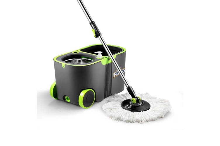 360 Degree Spin Floor Mop Bucket System with 4 Extra Microfiber Heads