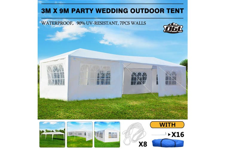 OGL 3x9M Outdoor Party Wedding Tent Canopy Gazebo with 7 Removable Walls