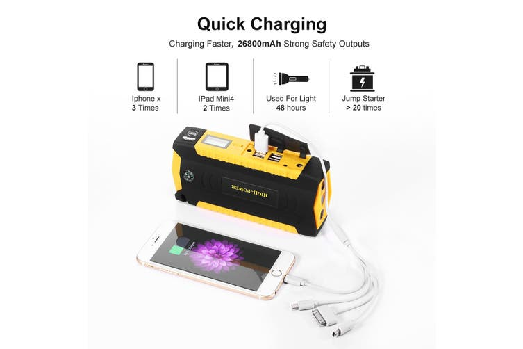 Emergency Charger Battery Jump Starter for Car   600A 26800mAh