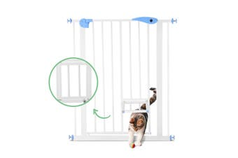 Baby Child Pet Safety Gate Stairway Barrier with Cat Door   100cm Tall