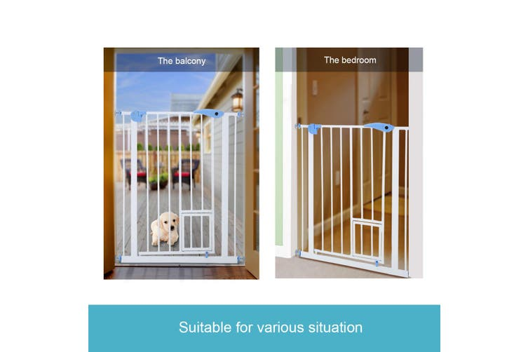 Dick Smith Baby Child Pet Safety Gate Stairway Barrier With Cat Door 100cm Tall Pet Supplies Trackers