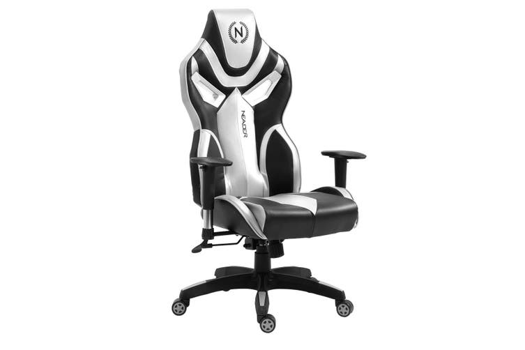 Home Office Computer Gaming Chair with Footrest and Tilt   Silver and Black