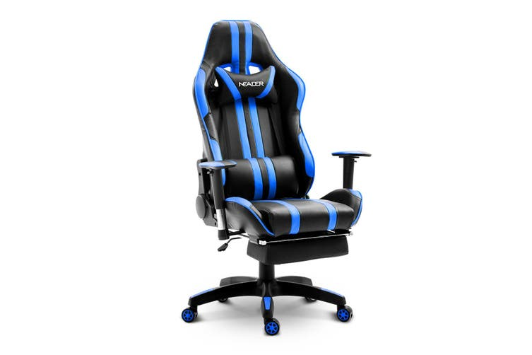 Home Office Computer Gaming Chair with Footrest and Tilt   Blue and Black