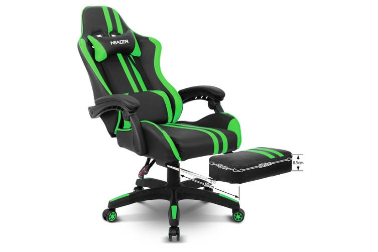 Home Office Computer Gaming Chair with Footrest and Tilt   Green and Black