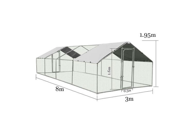 Steel Chicken Coop Run Rabbit Duck Enclosure 3x8m