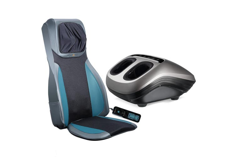 Electric Full Body Massager Massage Chair Cushion Blue & Foot Massager With Heat 2 Pcs
