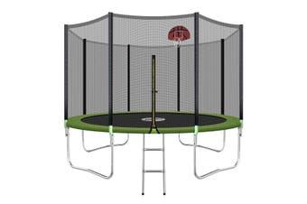 Genki 12ft Round Outdoor Trampoline Set with Safety Enclosure & Basketball Hoop Set & Ladder 150KG