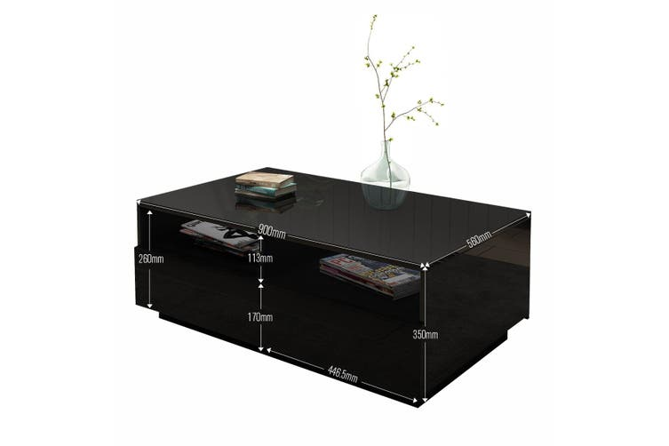 Contemporary High Gloss Coffee Table with 4 Drawers Black