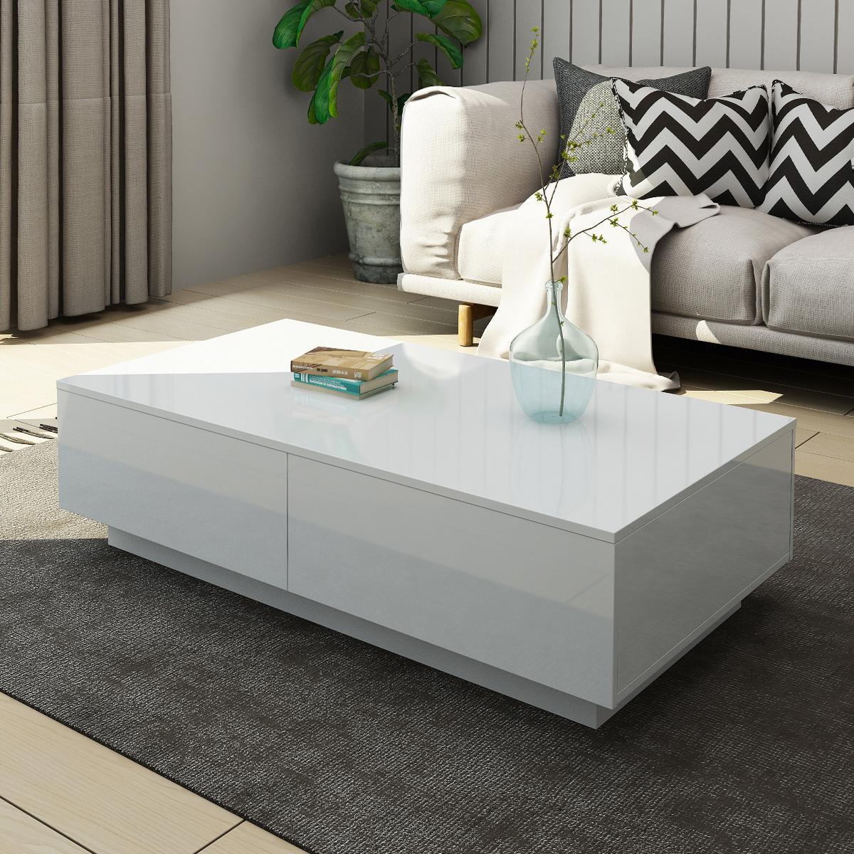 Modern Coffee Table 4 Drawer Storage Shelf High Gloss Wood Living Room Furniture White Matt Blatt