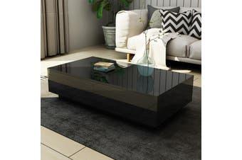 Modern Coffee Table 4 Drawer Storage Shelf High Gloss Wood Living Room Furniture   Black