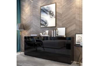Modern Sideboard Buffet High Gloss Storage Cabinet 4 Doors Cupboard Table - Black