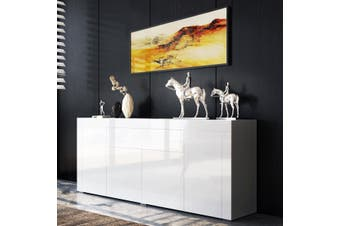 Modern Sideboard Buffet High Gloss Storage Cabinet 4 Doors Cupboard Table   White