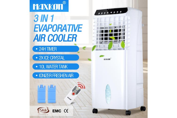 MAXKON 7L Mobile Evaporative Air Cooler Fan Humidifier Air Purifier Ionizer 3 Modes with Remote Control   Black